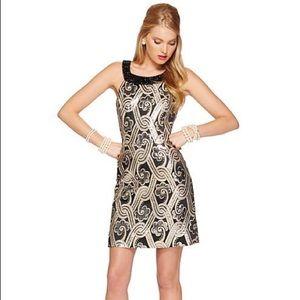 Lilly P Sydney Black metallic brocade halter dress